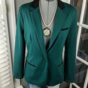 Green Blazer Jacket, Black Trim XL